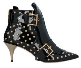 ALEXANDER McQUEEN Black Patent Leather Gold Stud Ankle Boots UK8 IT41 NEW + BOX